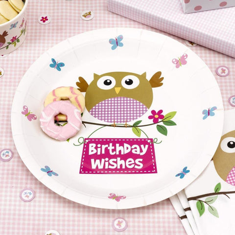 Little Owls - Baby Girl Plate - 8 - Pink