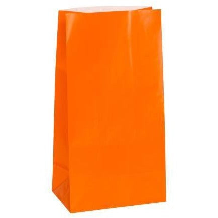 Orange Paper Party Bags, 12ct (special price of 52p when ordered in 72) (Also Upstairs)