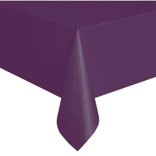 "Deep Purple Solid Rectangular Plastic Table Cover, 54""x108"" - Short Package"