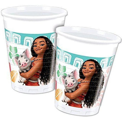 CUPS PLASTIC 200ML 8CT,  MOANA