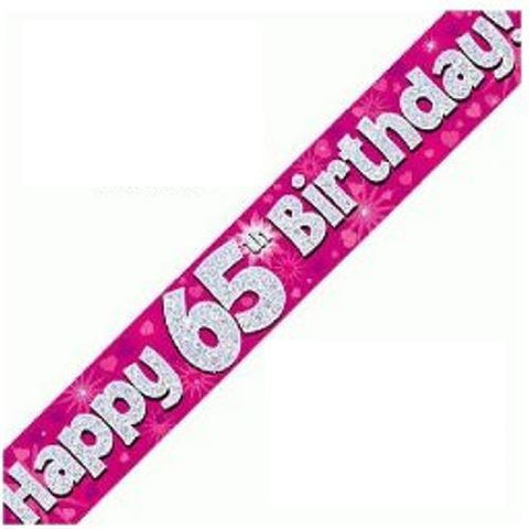 Pink Holographic Foil,65th Birthday Banner