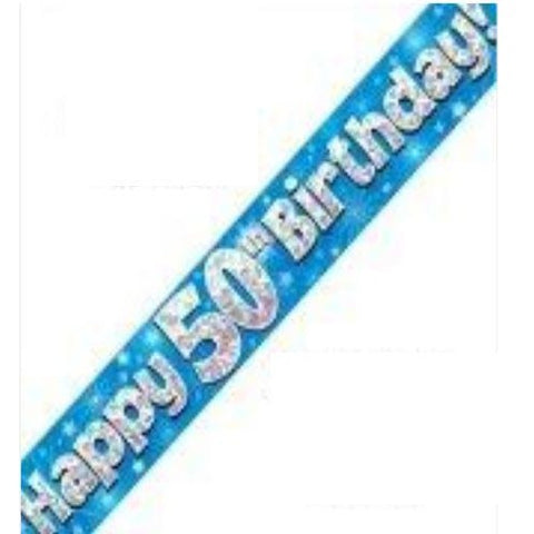 Blue Holographic Foil Birthday Age 50 Banner. Happy 50th Birthday Banner - Wholesale