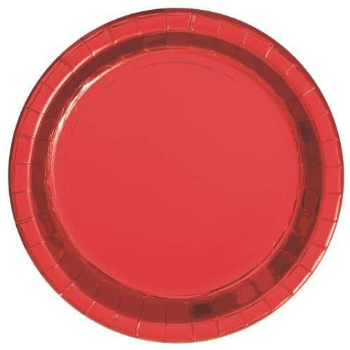 "8 Red 9"" Plates-Fb"