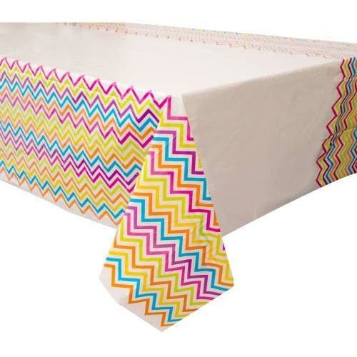 "Rainbow Chevron Rectangular Plastic Table Cover, 54""x84"""