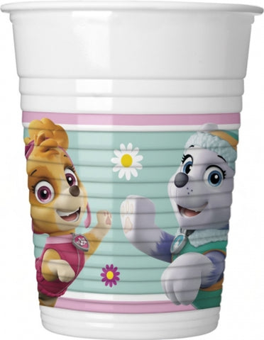 CUPS PLASTIC 200ML 8CT Paw Patrol Skye and Everest