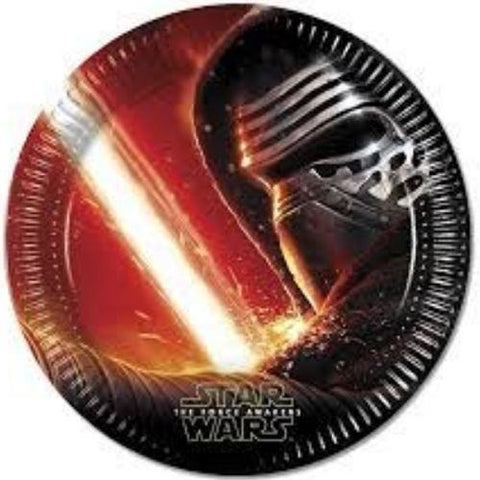 PLATES PAPER LARGE 23CM 8CT,  STAR WARS THE FORCE AWAKENS