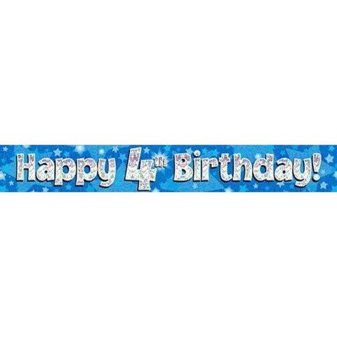 Blue Holographic Foil Birthday Age 4 Banner. Happy 4th Birthday Banner - Wholesale