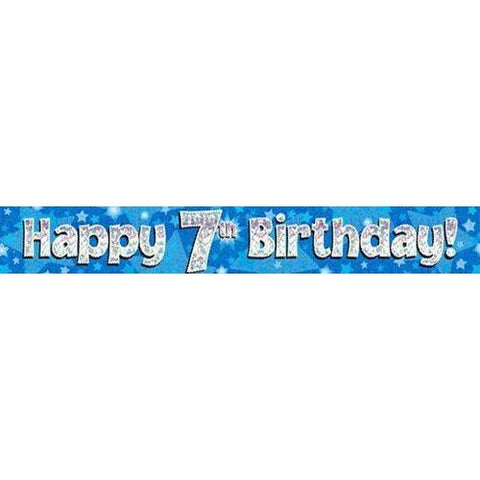 Blue Holographic Foil Birthday Age 7 Banner. Happy 7th Birthday Banner - Wholesale