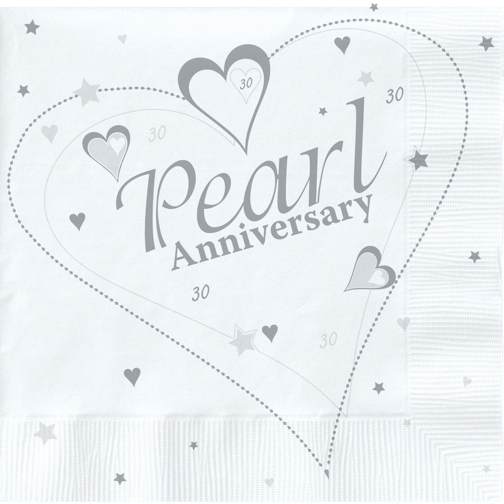 Pearl Anniversary Lunch Napkins Metallic 2 ply