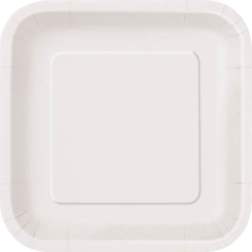 "16 Bright White 7"" Square Plates"