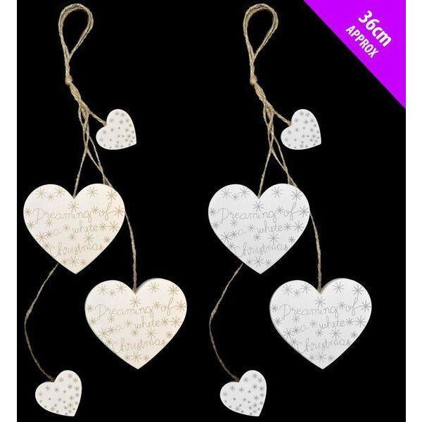 White Wooden Hearts Hanger Christmas Davies