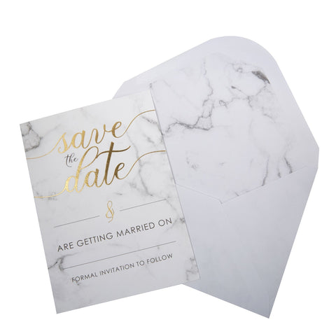 Scripted Marble - Save The Date Cards with Envelopes - 10