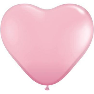"6"" Qualatex Pink Heart Balloons x5"