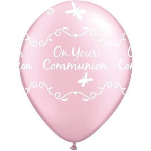 "11"" Round Pearl Pink On Your Communion Butterfly Balloons"