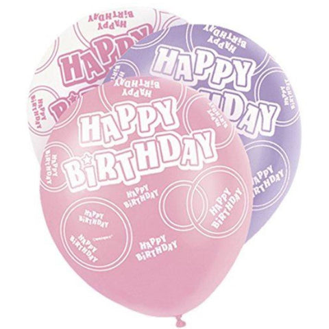 Pink Glitz Latex Balloons Happy Birthday (Special price of 65p)
