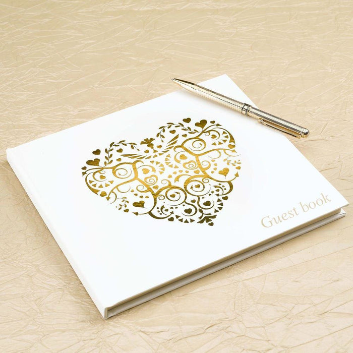 Guest Book - Vintage Romance Ivory & gold