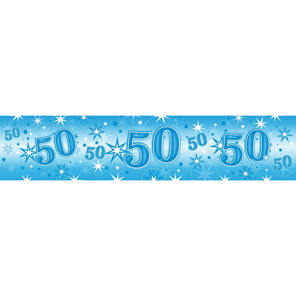 Qualatex sparkle blue ages 50 foil banner