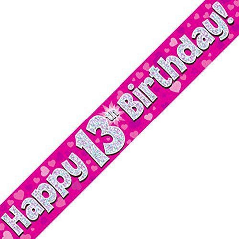 Pink Holographic Foil Birthday Age 13 Banner. Happy 13th Birthday Banner - Wholesale