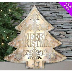 Wooden Merry Christmas Light Up Tree Davies Christmas