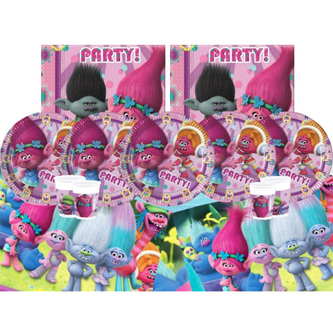 BPWFA-65 Trolls set for 16- Includes 16 cups, 16 paper Plates, 16 Napkins, 1 Table cover