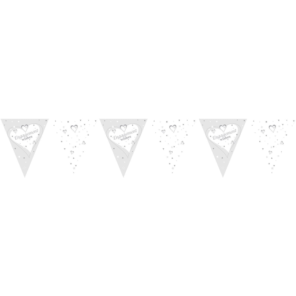 Engagement Wishes Paper Flag Bunting Metallic Print