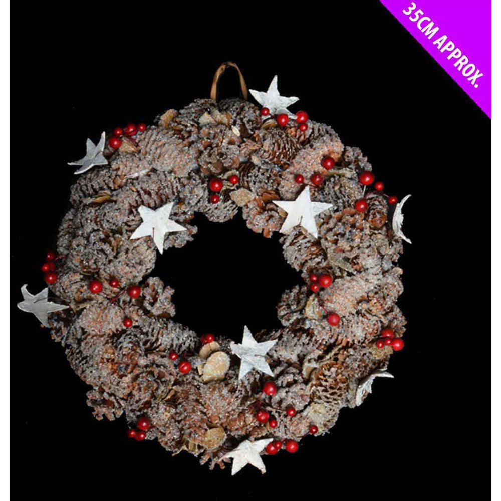 Theme Machine Pinecone and Berry Wreath 35cm