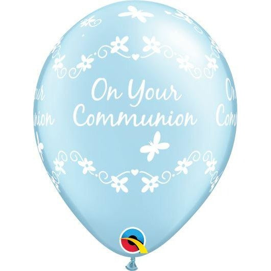 "11""  RND  PRL LT BLUE     25CT COMMUNION BUTTERFLIES"