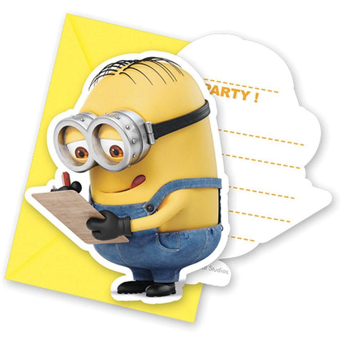INVITATIONS & ENVELOPES 6CT,  LOVELY MINIONS