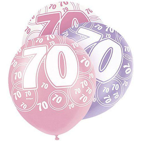Pink Glitz Latex Balloons Age 70 (Special price of 65p)