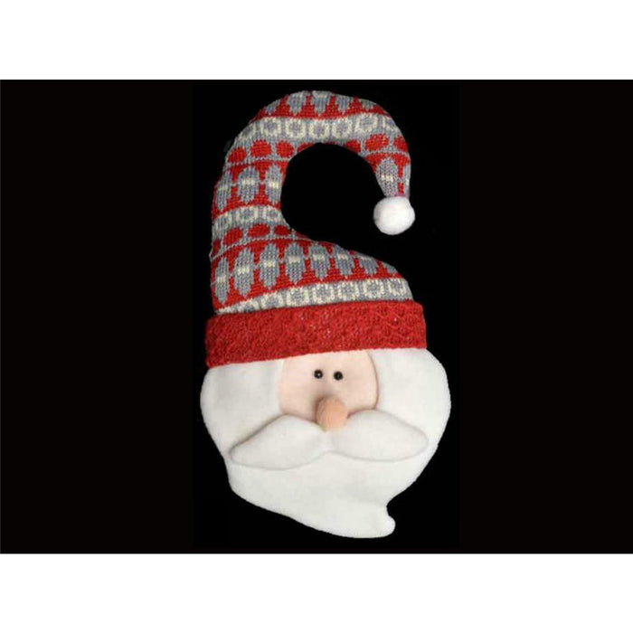 "12"" Christmas Door Hanger - Santa with grey/red hat"