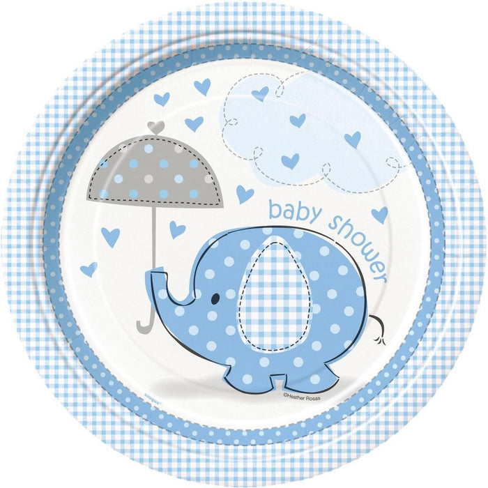 Umbrellaphants Blue Paper Plates 23cm
