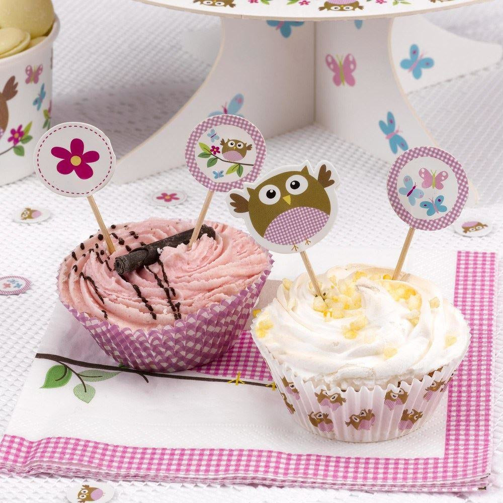 Little Owl Pink Cupcake Picks - END OF LINE (CLR:4)
