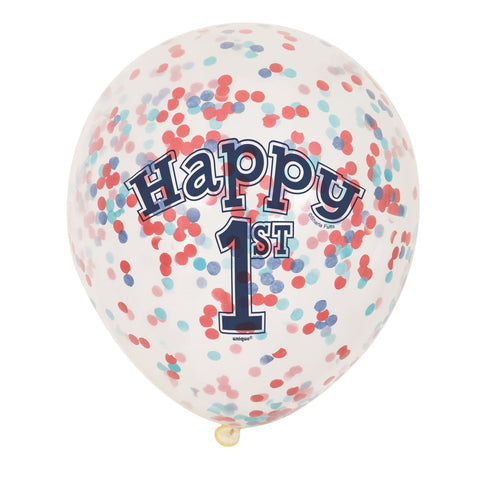 "12"" Clear Happy 1st Red & Blue Confetti Filled Balloons"