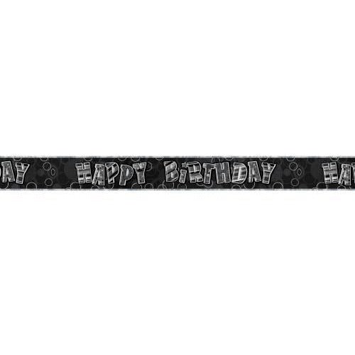 Birthday Black Glitz Happy Birthday Prism Banner, 9ft (special price of 30p)