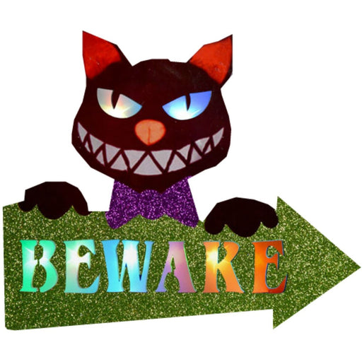 Character Lights Arrow Sign Cat 'Beware' Davies Halloween