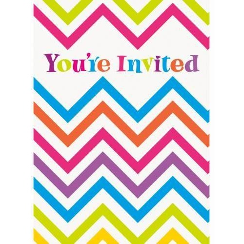 Rainbow Chevron Invitations, 8ct