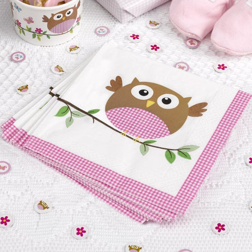 Little Owl Pink Napkins - House Of Party