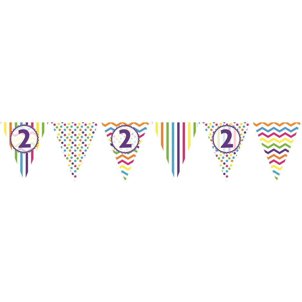 2nd Birthday Chevron Stripe Paper Flag Bunting