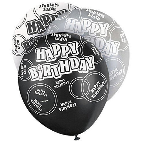 Black Glitz Happy Birthday Latex Balloons (Special price of 65p)