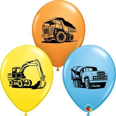 Construction Trucks Latex Balloon x25