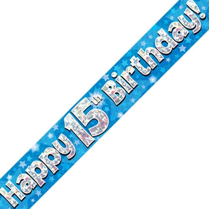 Blue Holographic Foil Birthday Age 15 Banner. Happy 15th Birthday Banner - Wholesale