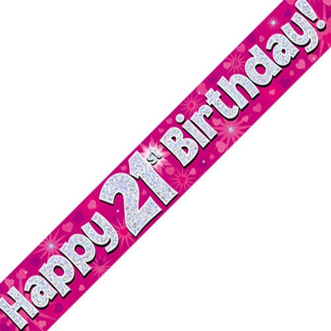 Pink Holographic Foil Birthday Age 21 Banner. - Wholesale