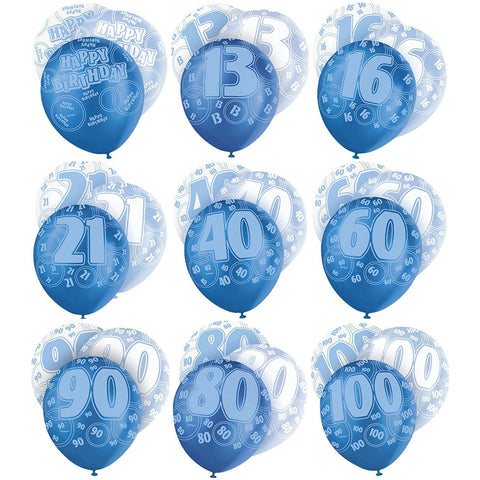Blue Glitz Latex Balloons Age 16 (Special price of 65p)