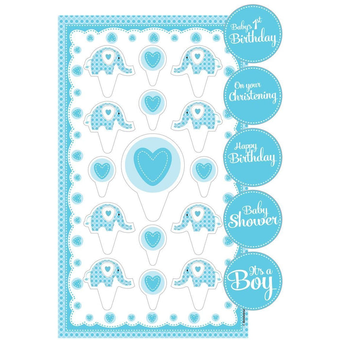 Sweet Baby Elephant Cake Topper Kit with Stickers Blue