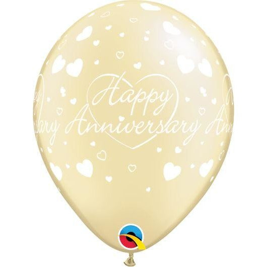 "11""  RND  PRL IVORY       25CT HAPPY ANNIVERSARY HEARTS - discontinued by Qualatex July 2017"