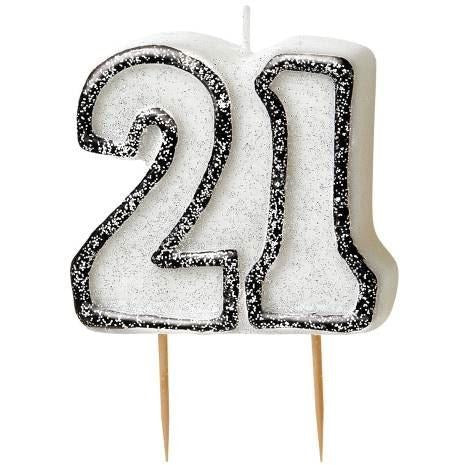 Birthday Black Glitz Number 21 Numeral Candles