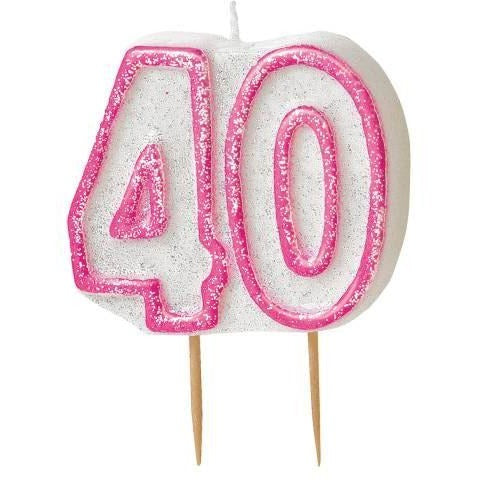 Birthday Pink Glitz Number 40 Numeral Candles