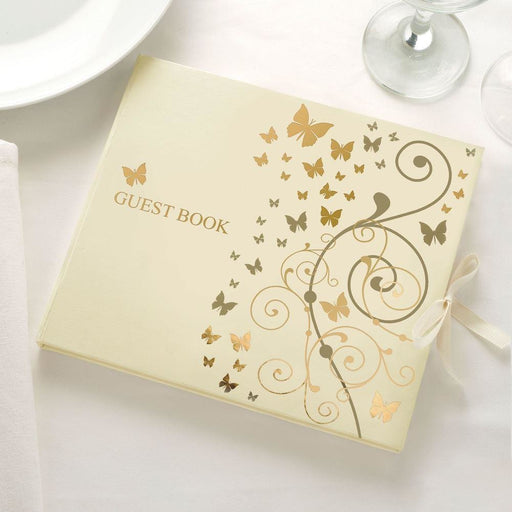 Guest Book - Gold Butterflies