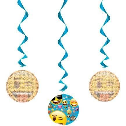 "Emoji Hanging Swirl Decorations, 26"", 3ct"