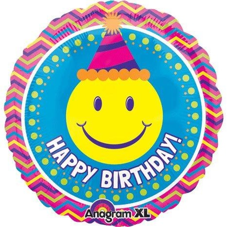 "21"" Round Happy Birthday Smiley Chevron Balloon"